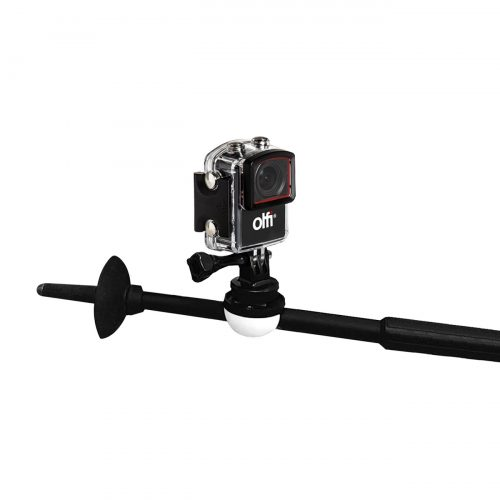 PolePod Action Camera Mount for Poles and Sticks with Olfi one.five Black action camera