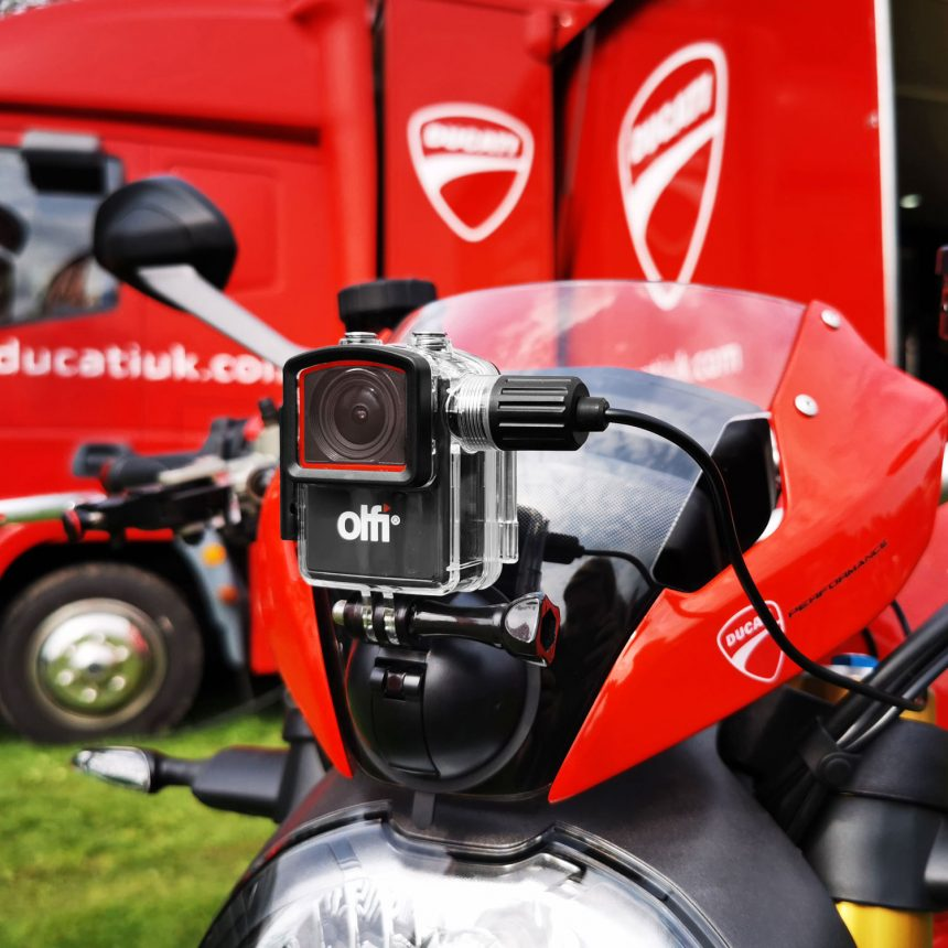 Olfi Power and Record Case on Ducati Motorbike