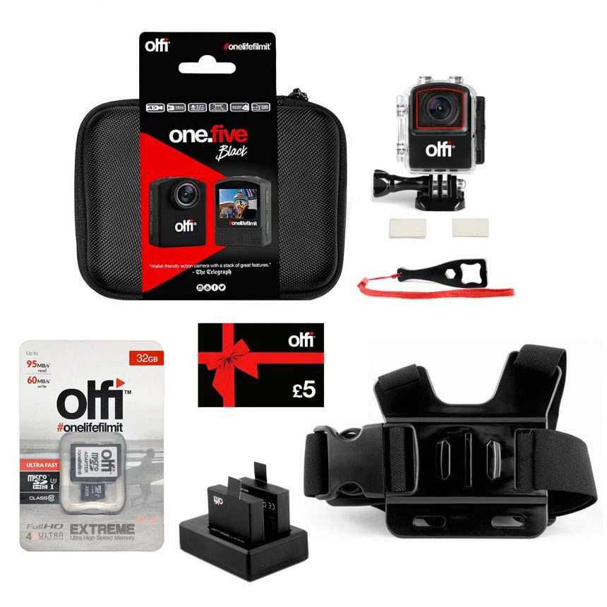 Olfi one.five Black Air Sports Action Camera Bundle