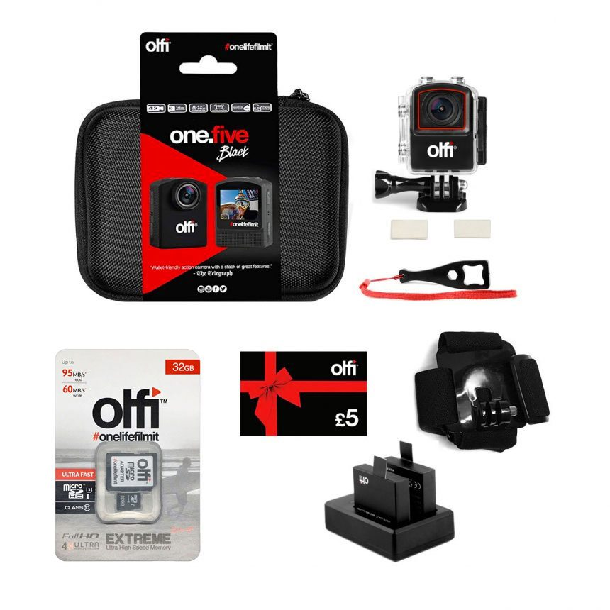 Olfi one.five Black Equestrian Action Camera Bundle