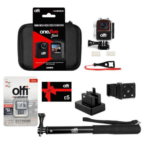 Olfi one.five Black Family Action Camera Bundle