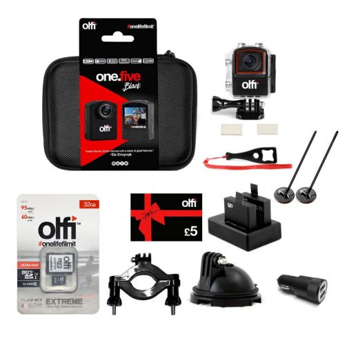 Olfi one.five Black Motorports Action Camera Bundle