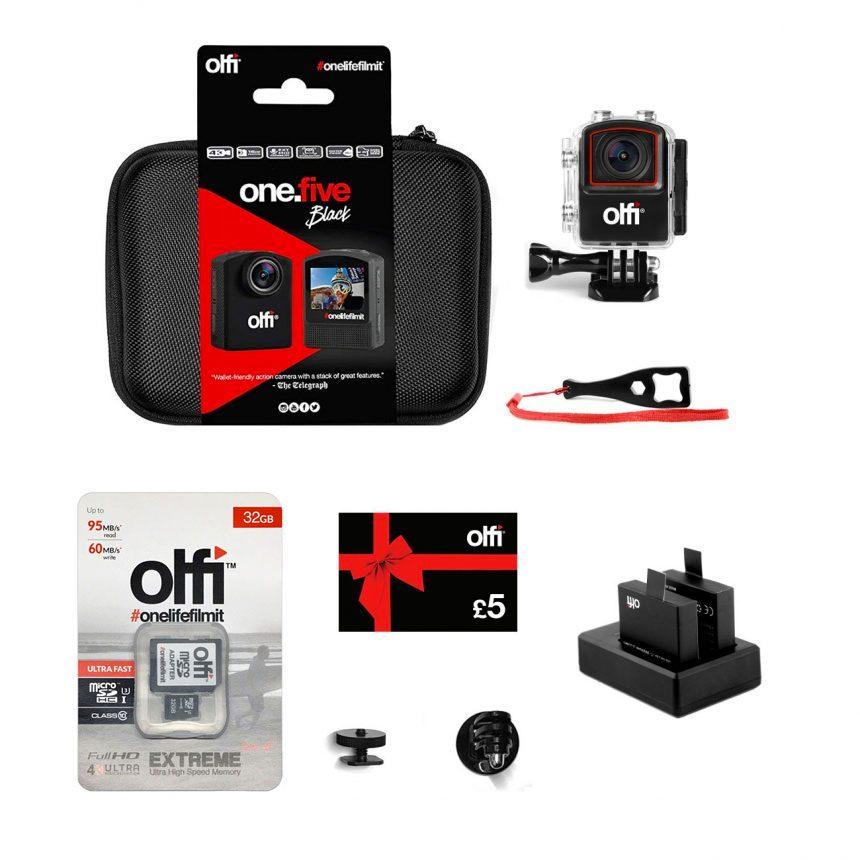 Olfi one.five Black Photography Action Camera Bundle