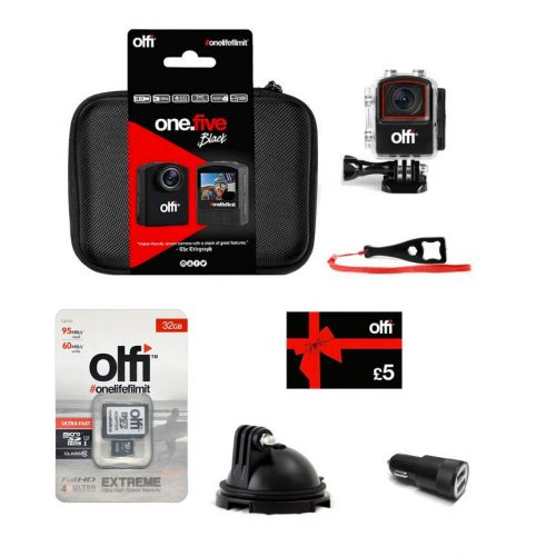 Olfi one.five Black Dash Cam Action Camera Bundle