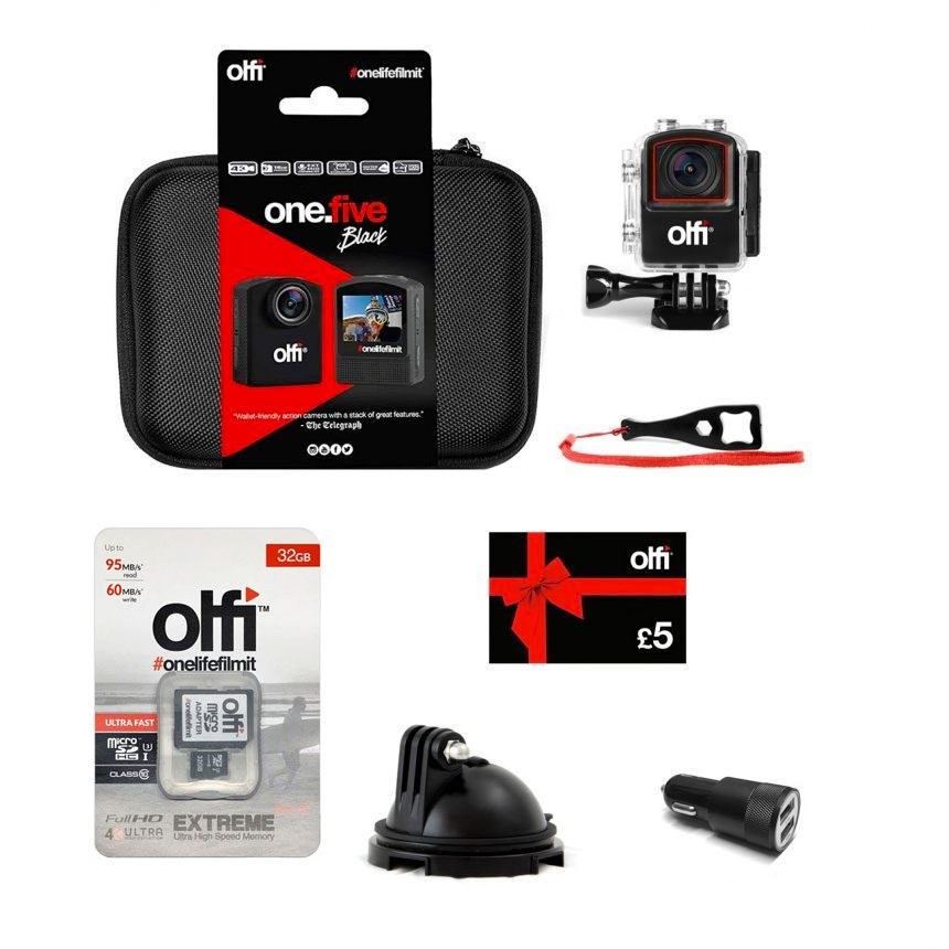 Olfi one.five Black Dash Cam Action Camera Bundle