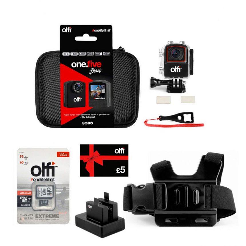 Olfi one.five Black Shooting Sports Action Camera Bundle