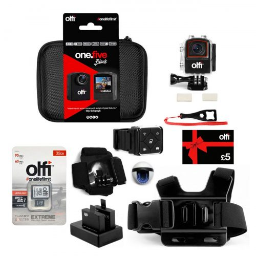 Olfi one.five Black Ski Action Camera Bundle