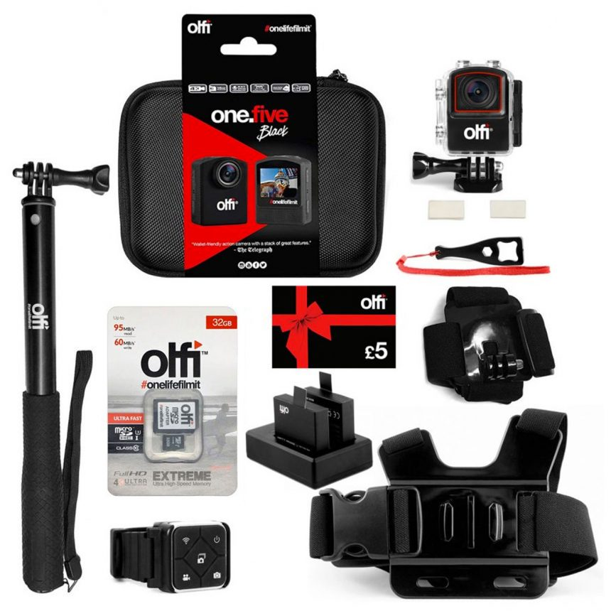 Olfi one.five Black Snowboard Action Camera Bundle