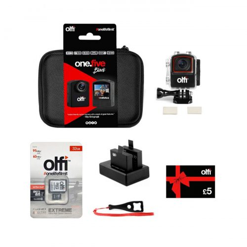 Olfi one.five Black Starter Action Camera Bundle for Beginners