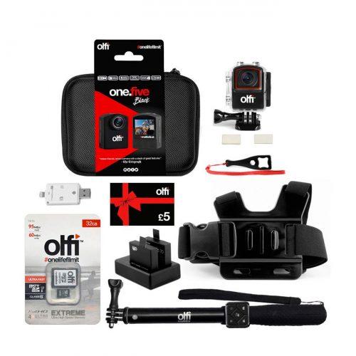 Olfi one.five Black Travel Action Camera Bundle