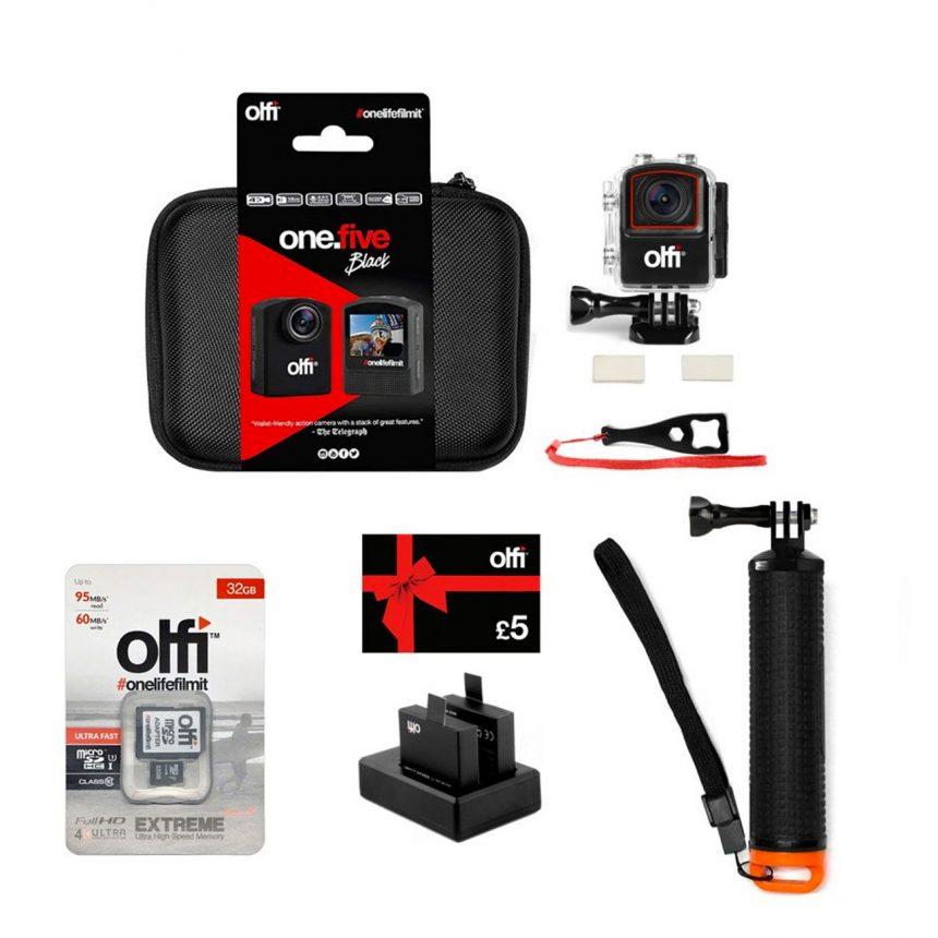 Olfi one.five Black Watersports Action Camera Bundle